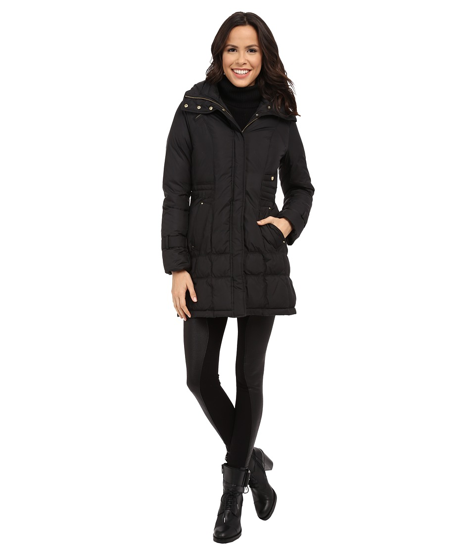 Cole Haan - Down Coat with Cinch Bottom and Large Collar (Black) Women