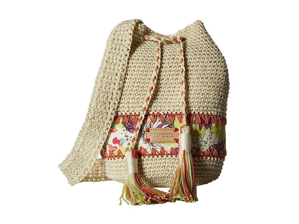 Sakroots Artist Circle Crochet Drawstring Citrus Xen Garden Drawstring Handbags