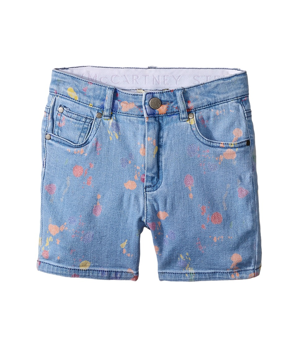 Stella McCartney Kids Blake Paint Splash Denim Shorts Toddler/Little Kids/Big Kids Light Denim Girls Shorts