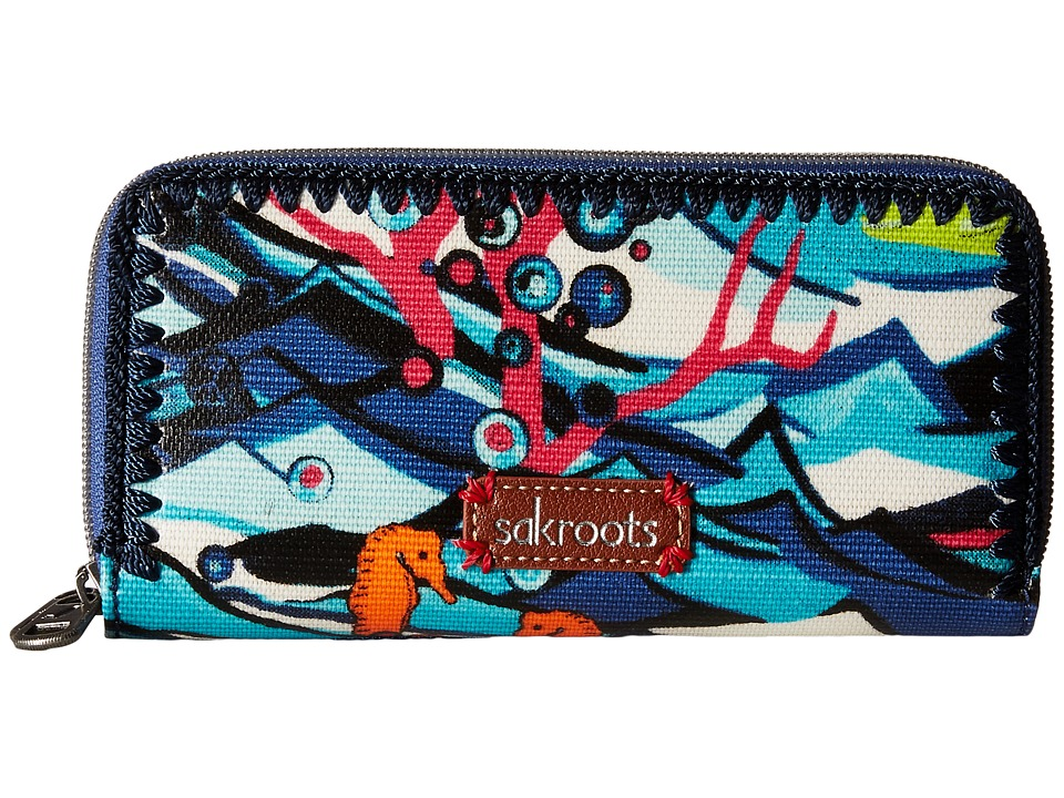 Sakroots - Artist Circle Double Zip Wallet (Aqua Water Nation) Wallet Handbags