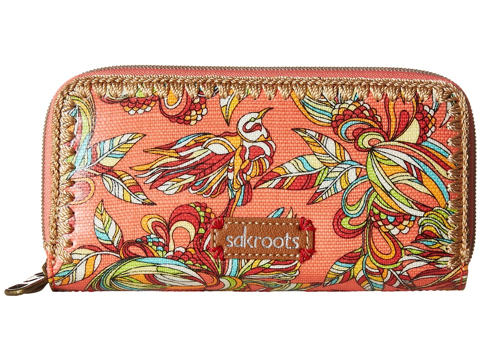 Sakroots - Artist Circle Double Zip Wallet (Coral Treehouse) Wallet Handbags