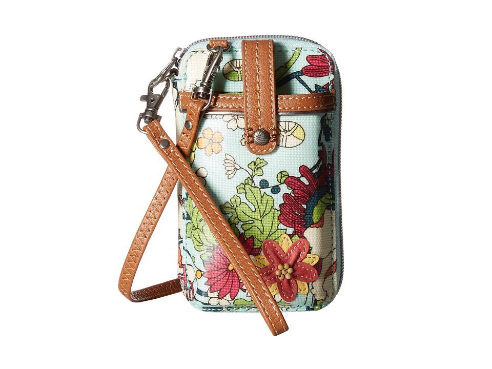 Sakroots Artist Circle Smartphone Wristlet Seafoam Flower Power Wristlet Handbags