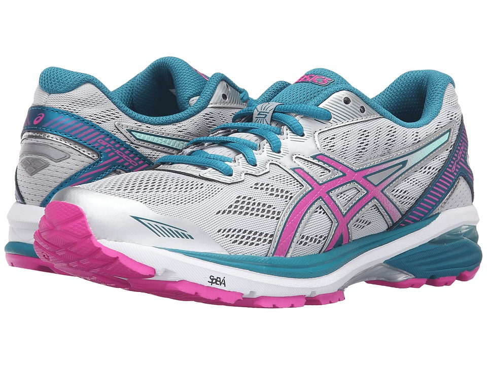 ASICS - GT-1000 5 (Glacier Gray/Pink Glow/Ocean Depth) Womens Running Shoes