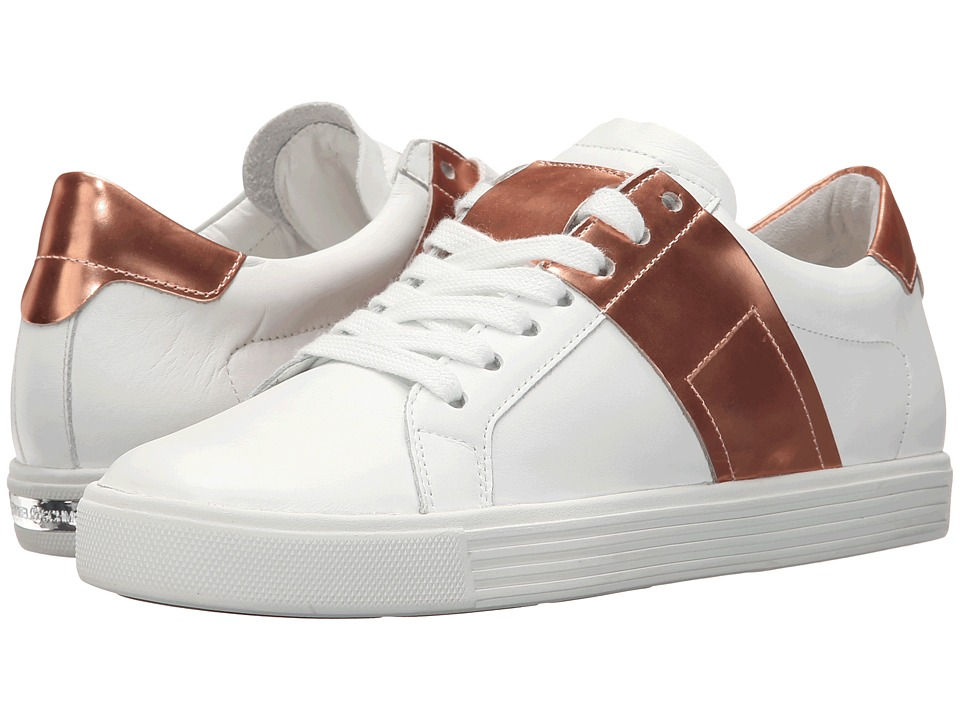 Kennel amp Schmenger Town Metallic Contrast White Leather/Rose Gold Specchio Womens Shoes