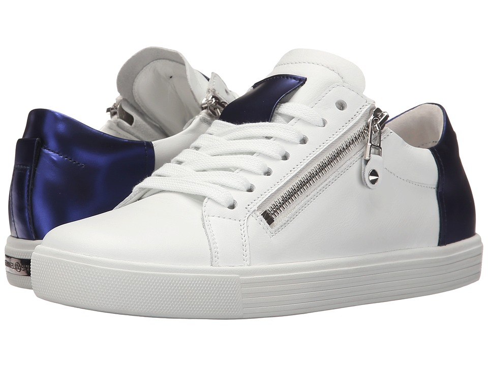 Kennel amp Schmenger Town Double Zip Metallic Contrast White Leather/Royal Blue Specchio Womens Shoes