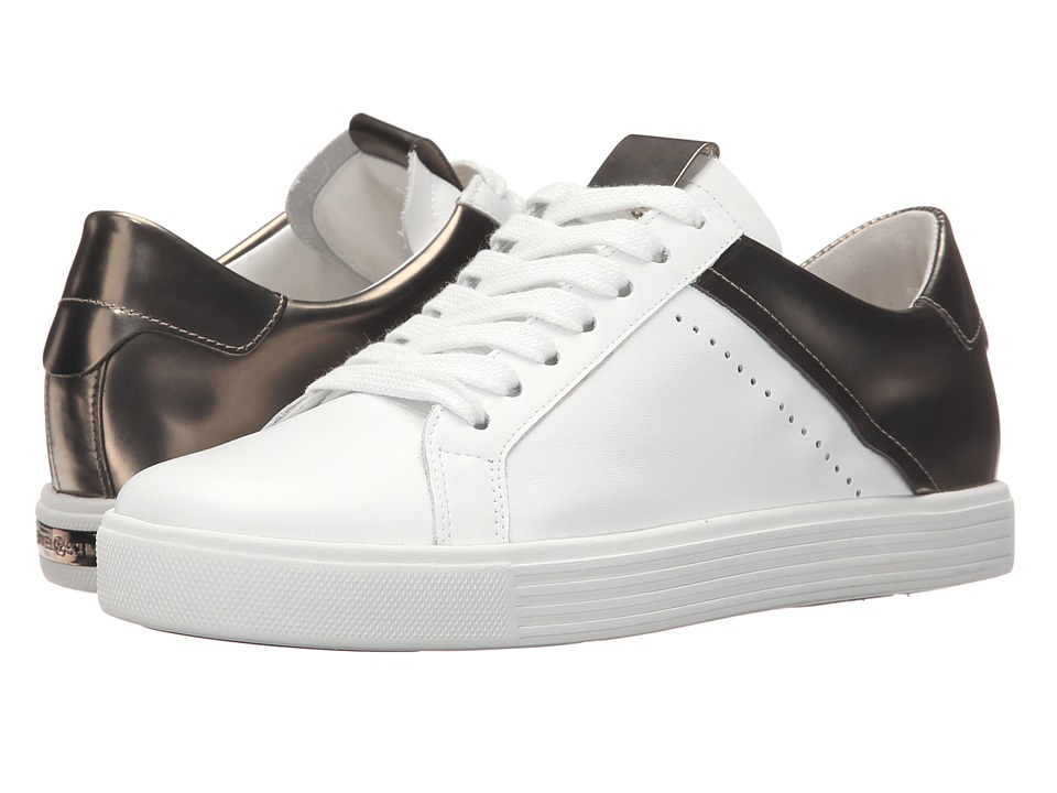 Kennel amp Schmenger Town Metallic Contrast White Leather/Silver Specchio Womens Shoes