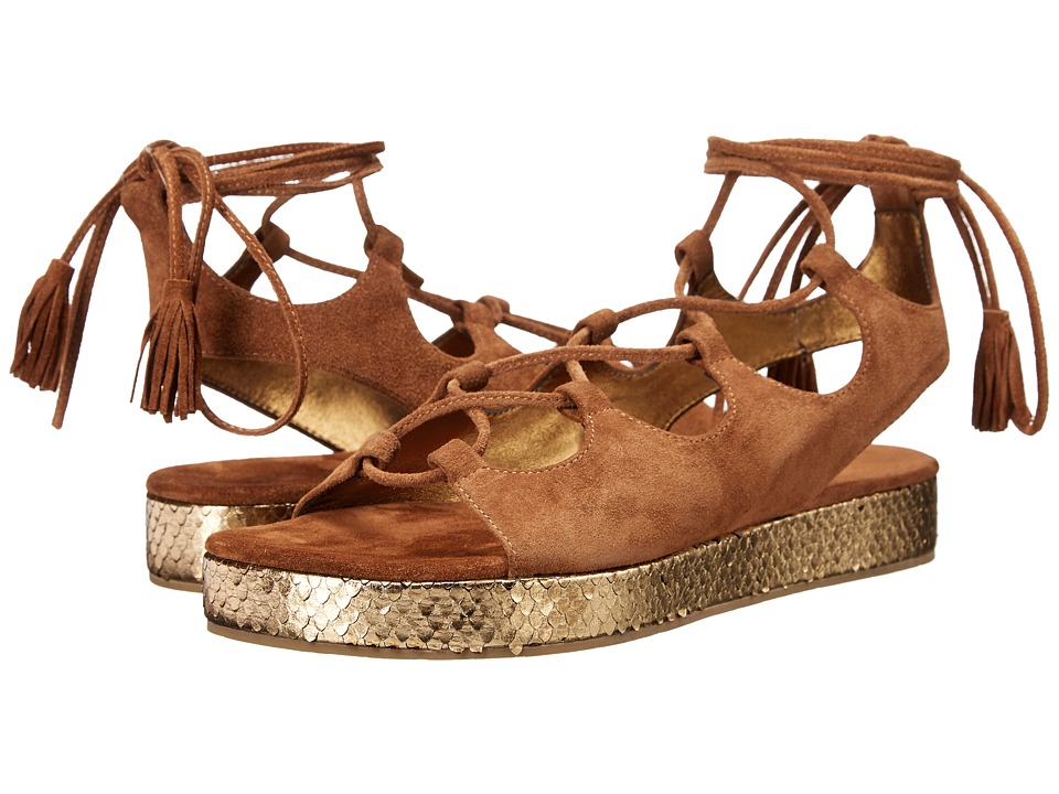 Kennel amp Schmenger Neo Metallic Flatform Cognac Suede/Gold Metallic Womens Sandals