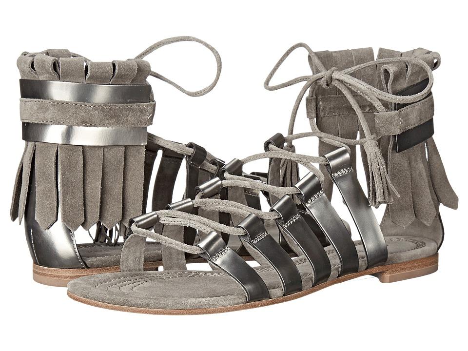 Kennel amp Schmenger Elle Fringe Sandal Gunmetal Specchio/Stone Suede Womens Sandals