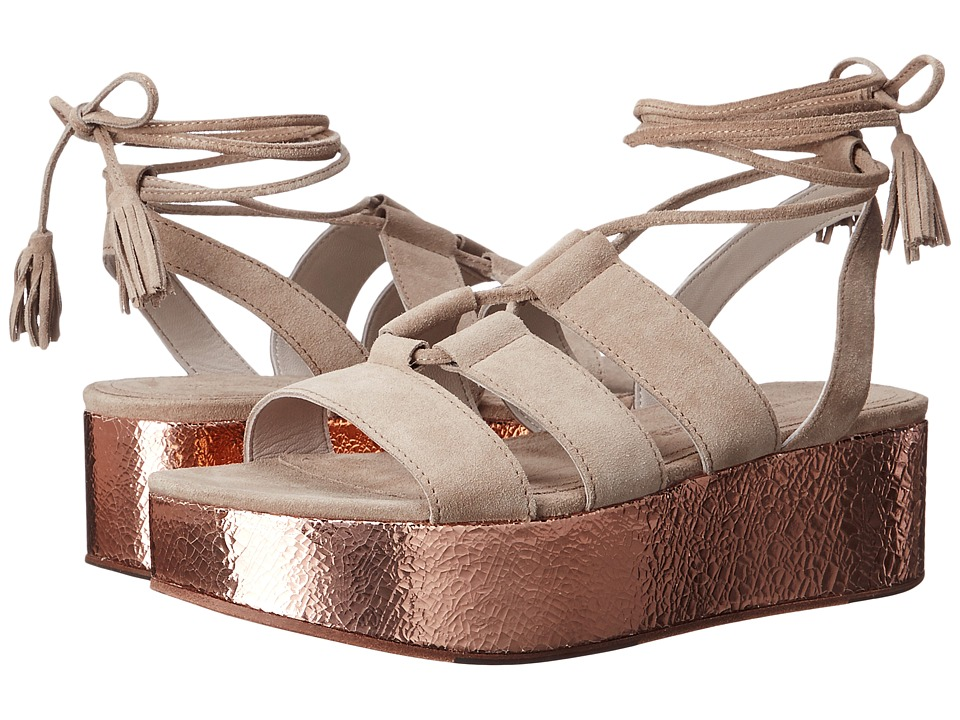 Kennel amp Schmenger Candy Metallic Flatform Sandal Natural Suede/Rose Gold Womens Sandals