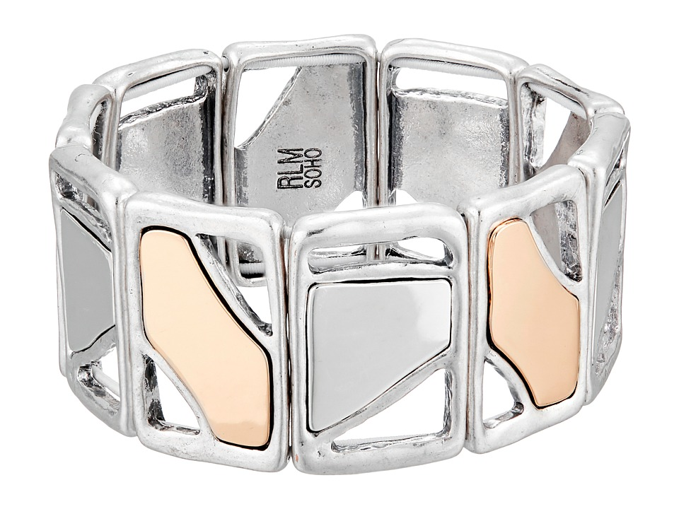 Robert Lee Morris Mirror Square Stretch Bracelet Two Tone Bracelet