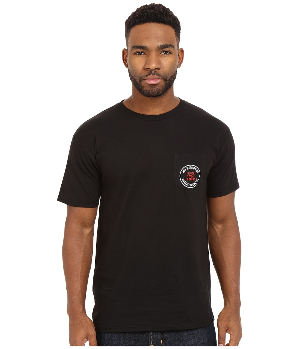 HUF Blood Sweat Beers Tee Black Mens T Shirt