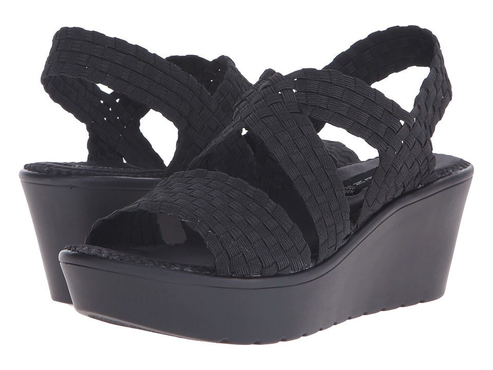 Steven Biata Black Womens Wedge Shoes