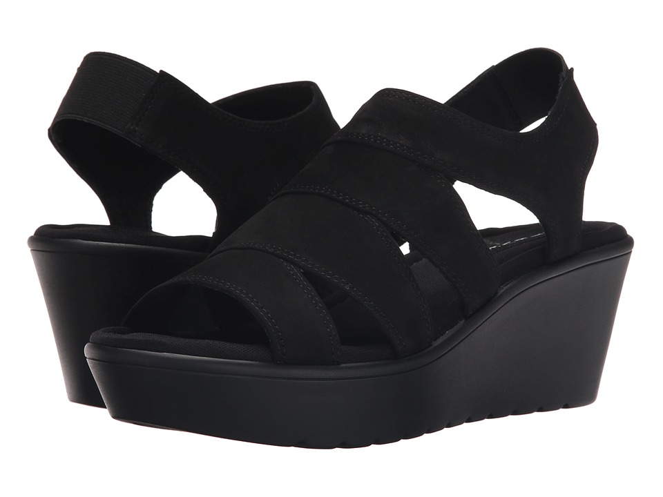 Steven Blaiire Black Nubuck Womens Wedge Shoes
