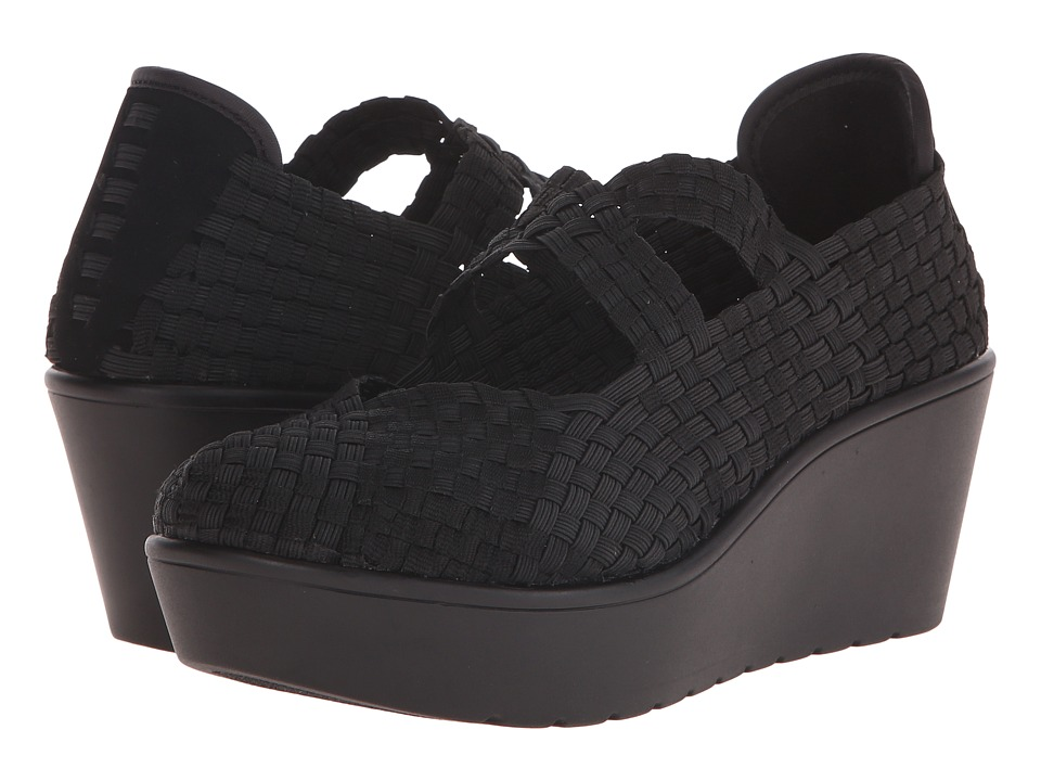 Steven Breett Black Womens Wedge Shoes
