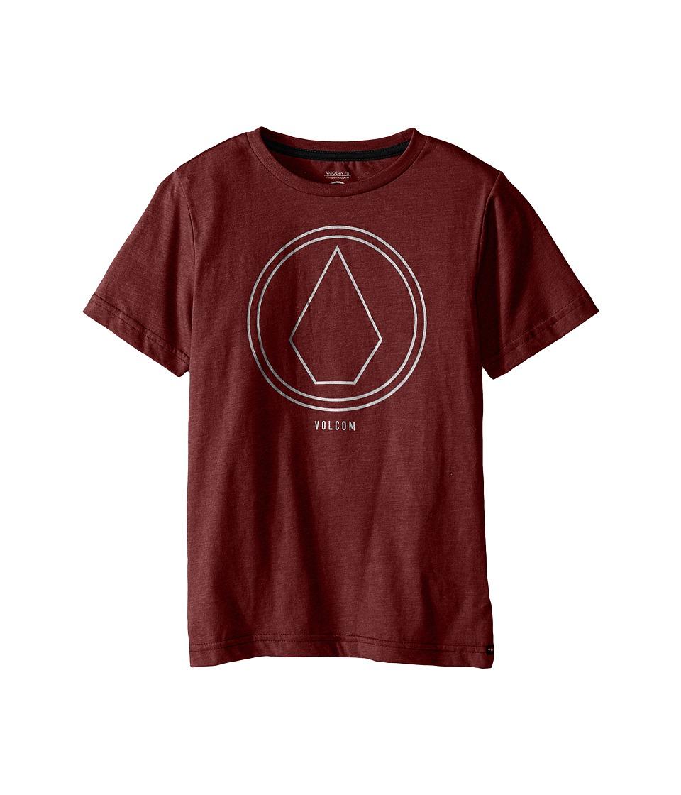 Volcom Kids Pin Line Stone Short Sleeve Shirt Big Kids Port Heather Boys T Shirt