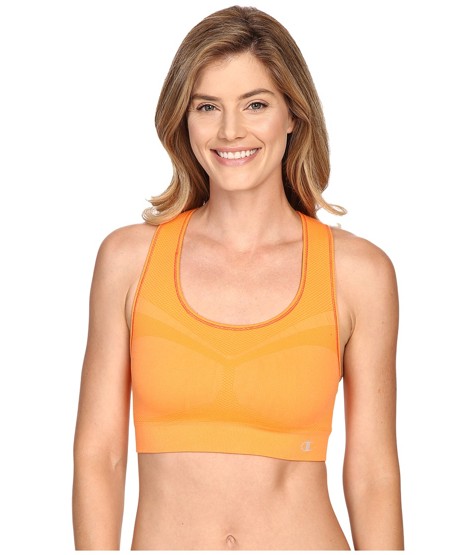 Champion Double Dry Seamless Racer Back Sports Bra Orange Wedge Womens Bra
