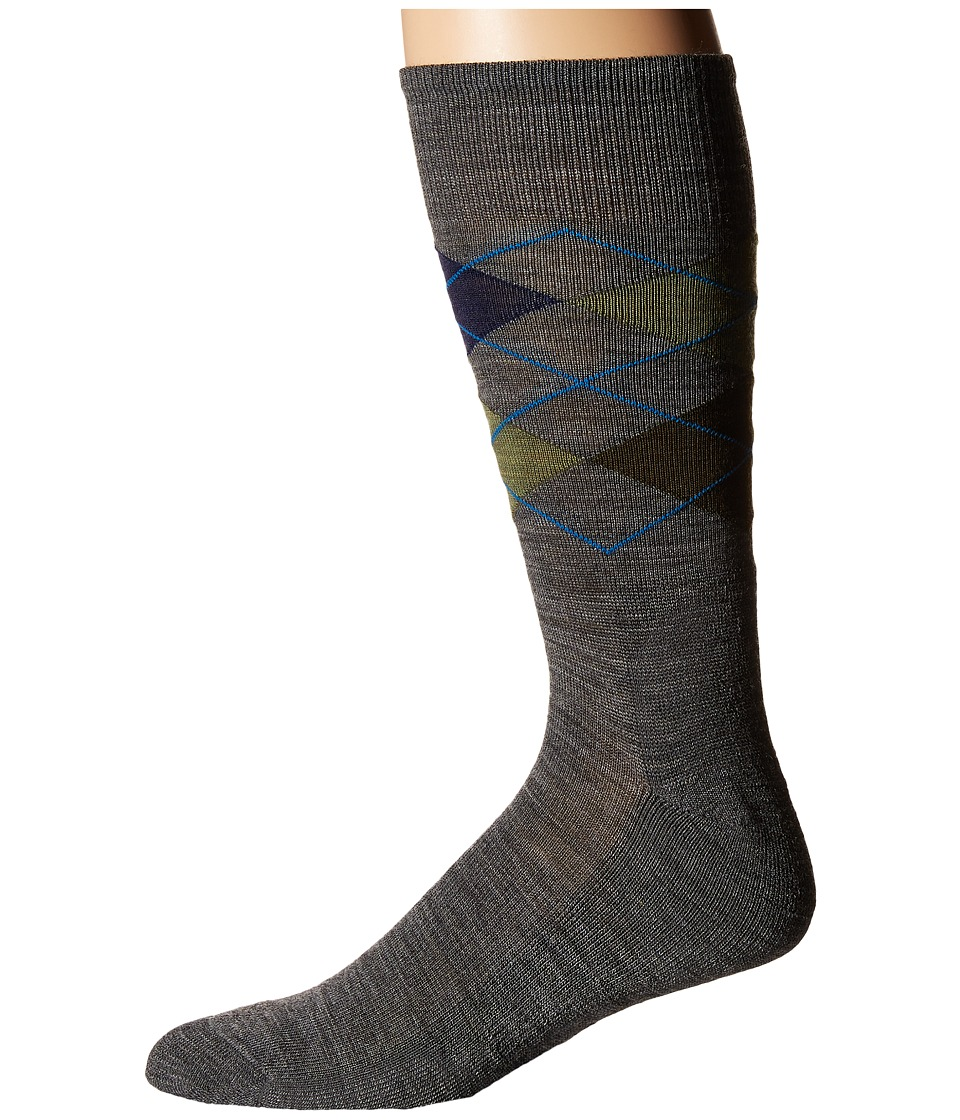 Smartwool - Diamond Jim (Deep Navy Heather/Medium Gray Heather) Mens Crew Cut Socks Shoes