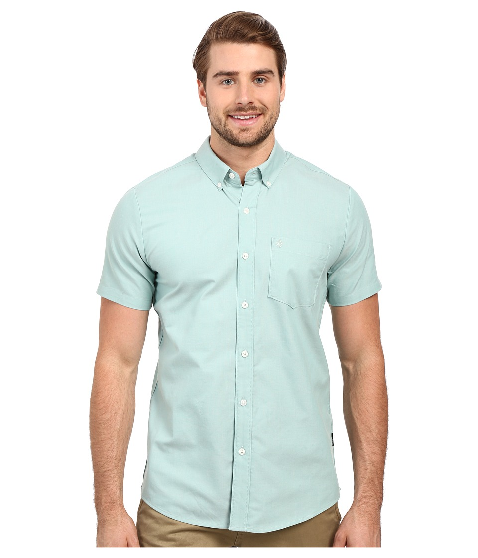 Volcom Everett Oxford Short Sleeve Woven Island Green Mens Short Sleeve Button Up