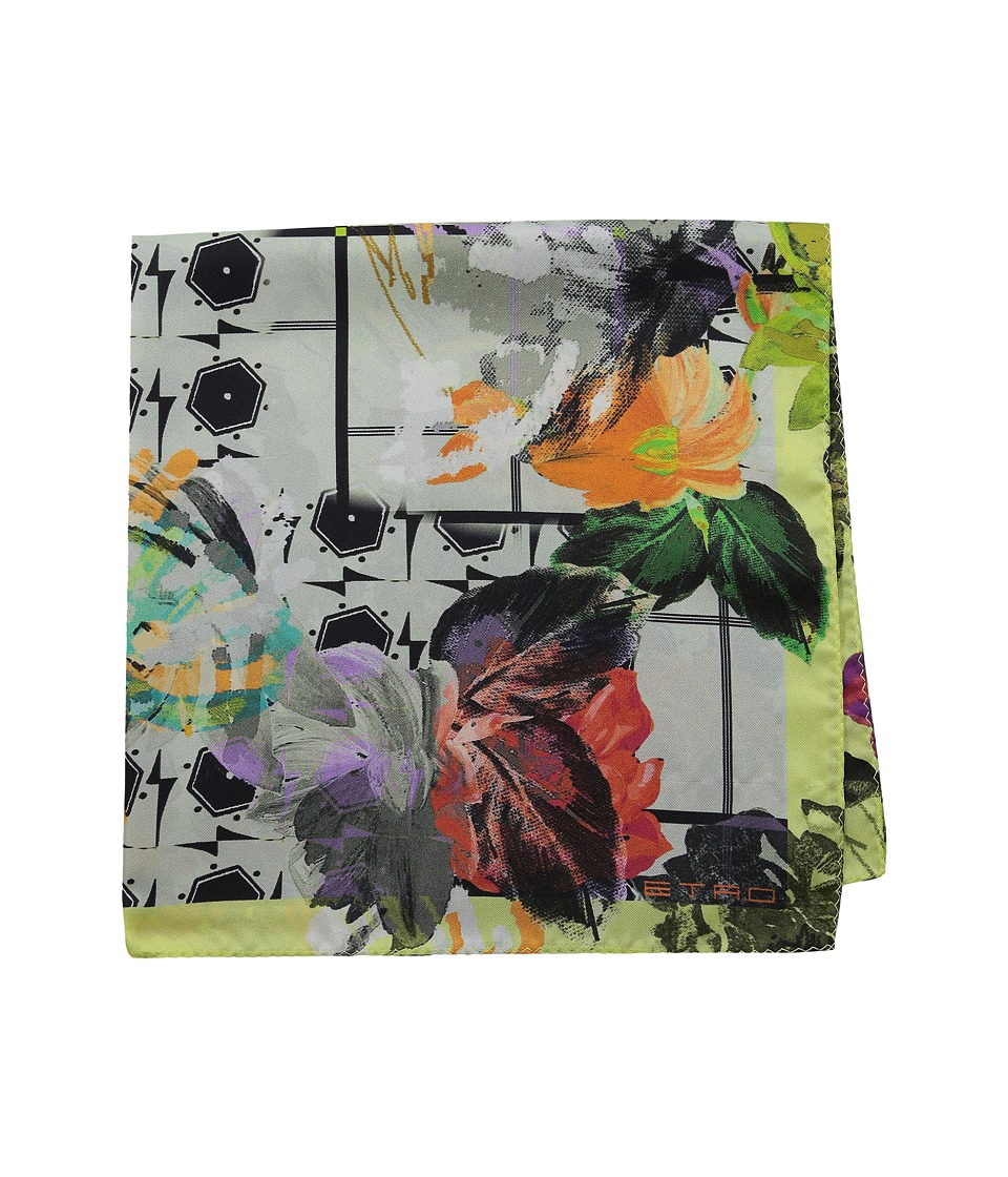 Etro Floral Silk Pocket Square White Floral Ties