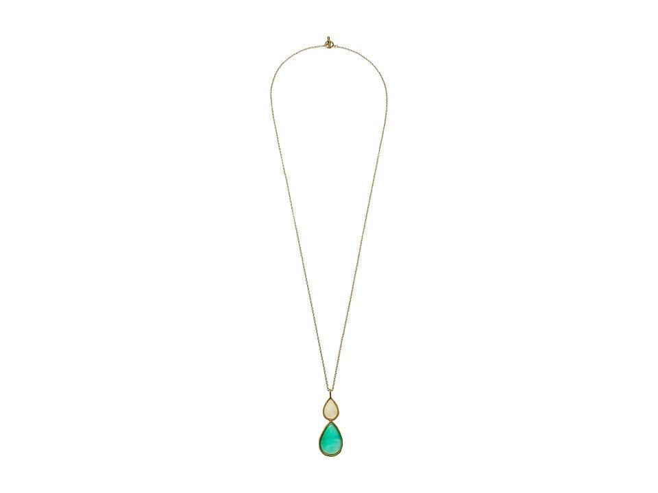 Karen Kane Sky and Sea Double Teardrop Pendant Necklace Green Necklace