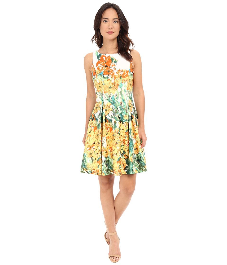 Christin Michaels Anabel Sleeveless Flare Dress Ivory/Yellow Womens Dress