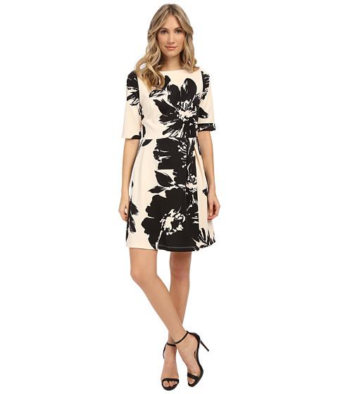 Christin Michaels Celeste 3/4 Sleeve Flare Dress - Vanilla/Black