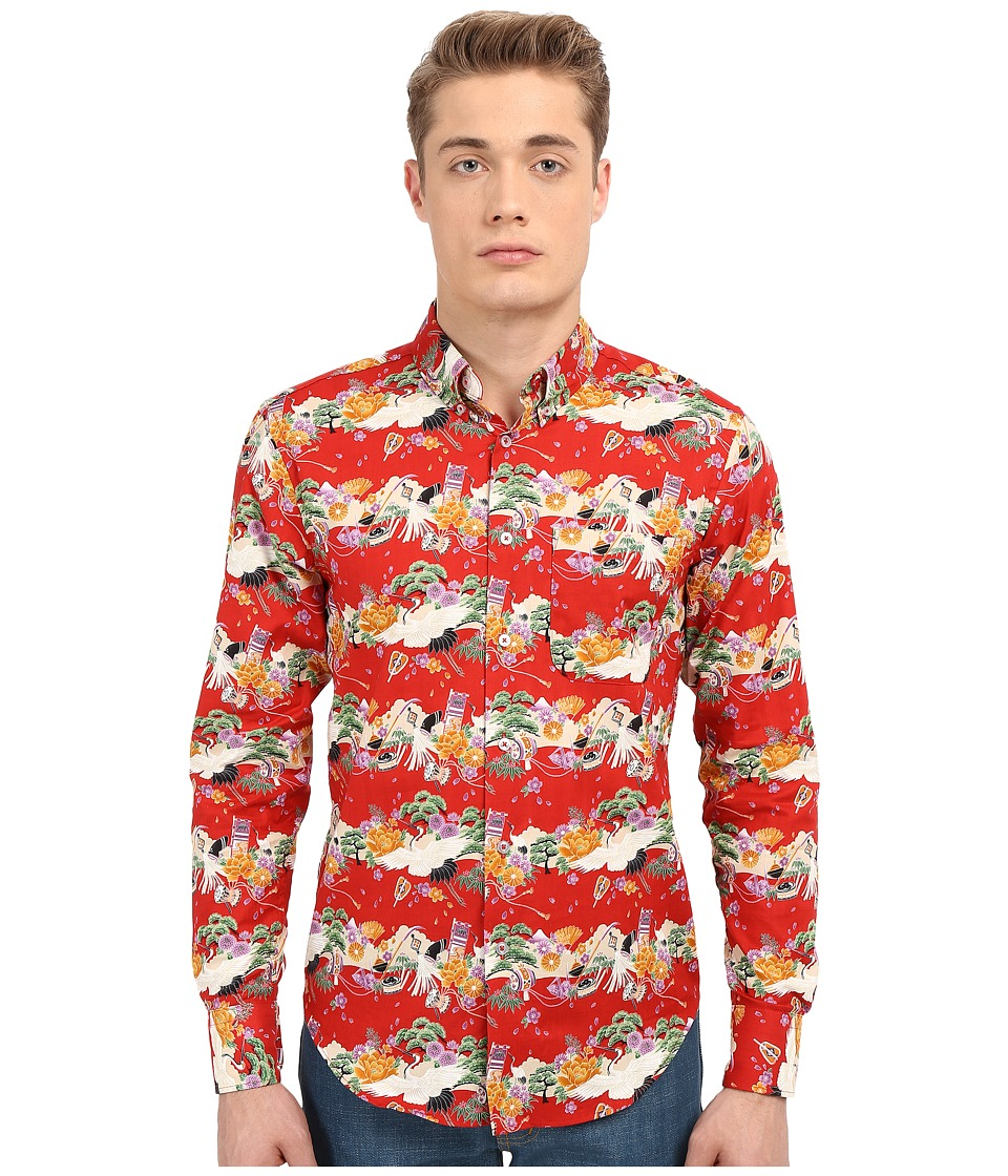 Naked amp Famous Regular Japanese Festival Shirt Print Red Mens Clothing