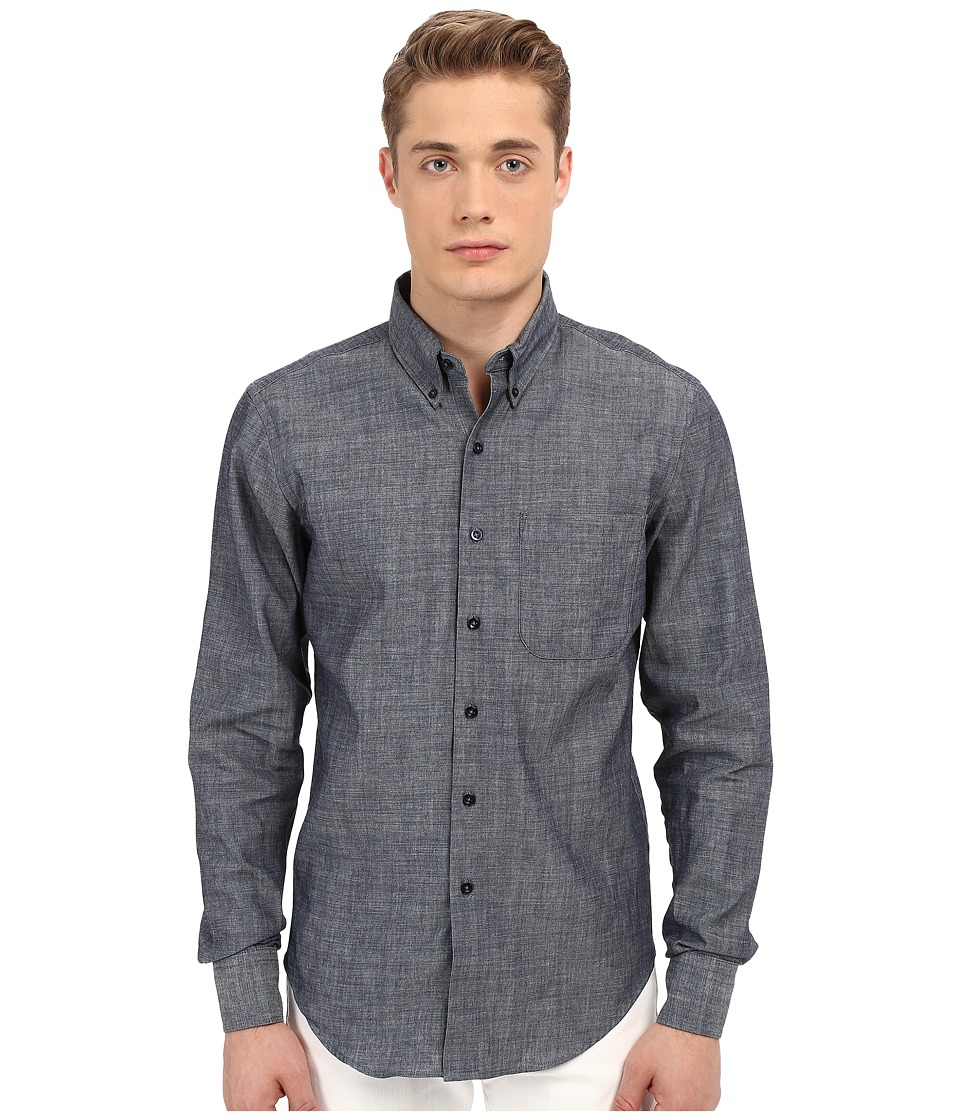 Naked amp Famous Slim Lightweight Chambray Shirt Chambray Mens Long Sleeve Button Up