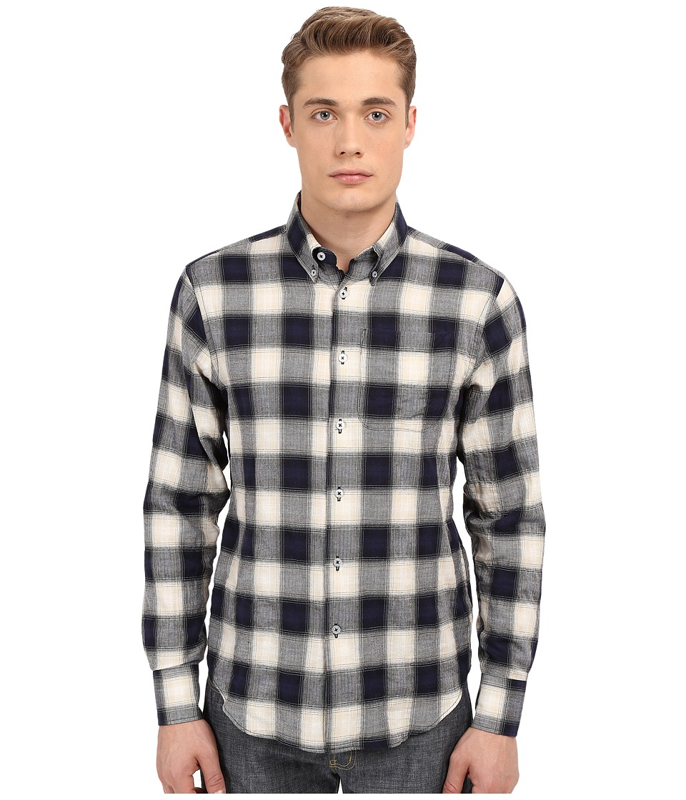 Naked amp Famous Regular Herringbone Ombre Check Shirt Navy Mens Long Sleeve Button Up