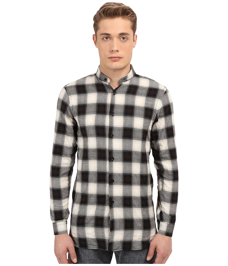 Naked amp Famous Long Fit Herringbone Ombre Check Shirt Black Mens Long Sleeve Button Up
