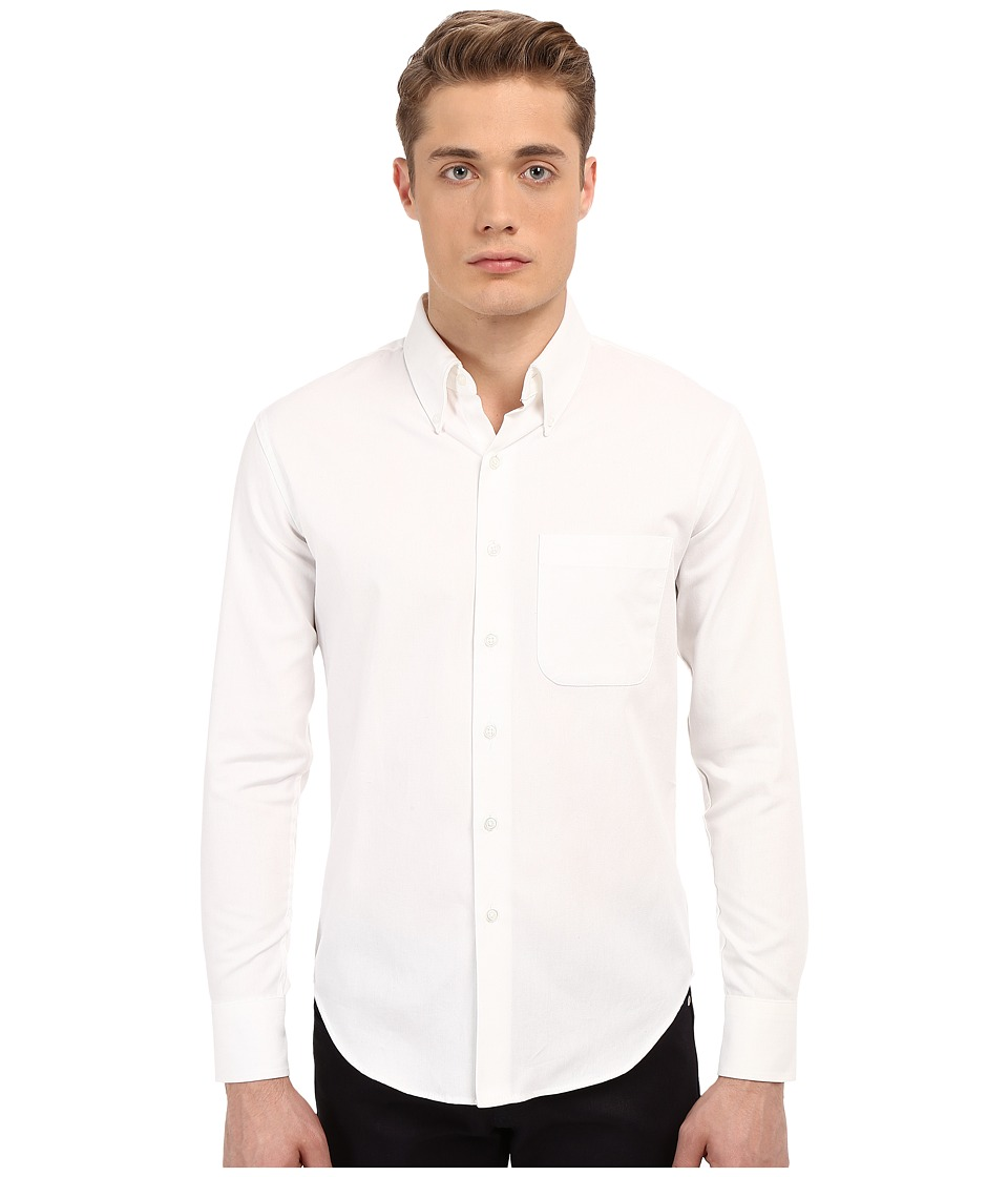 Naked amp Famous Slim Oxford Shirt White Mens Long Sleeve Button Up
