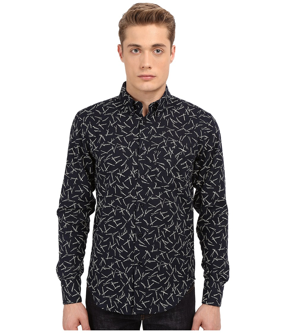 Naked amp Famous Regular Kimono Pine Needles Print Shirt Print Black Mens Long Sleeve Button Up