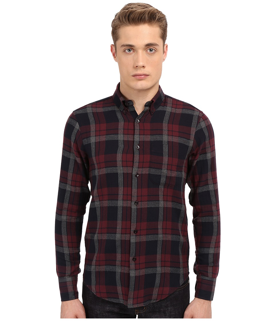 Naked amp Famous Regular Herringbone Soft Check Shirt Red/Navy Mens Clothing