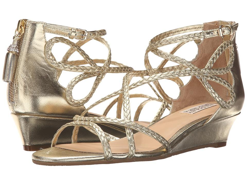 Badgley Mischka Corrine Platino Metallic Leather Womens Wedge Shoes