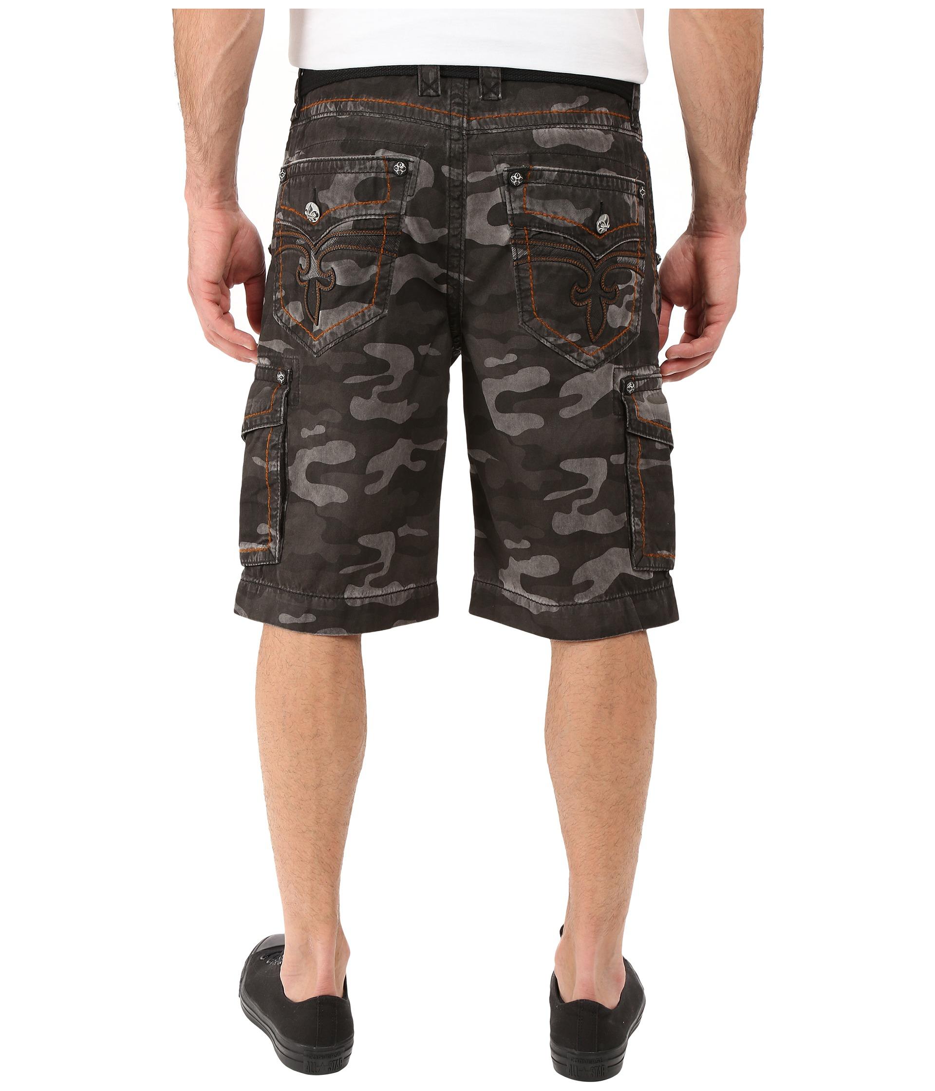 Rock Revival Cargo Shorts Camo Grey - Zappos.com Free Shipping BOTH Ways