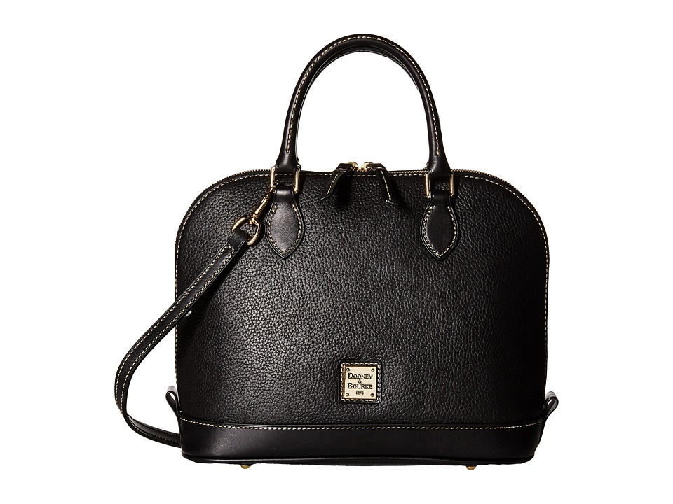 Dooney & Bourke - Pebble Leather New Colors Zip Zip Satchel (Black/Black) Satchel Handbags