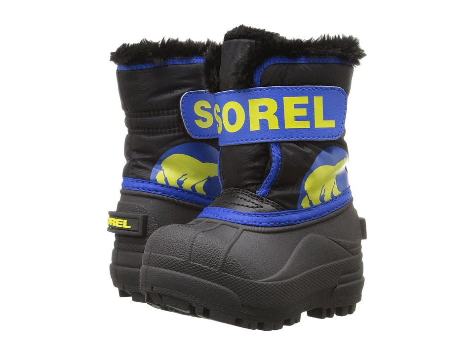 SOREL Kids Snow Commander (Toddler) (Black/Super Blue) Boys Shoes