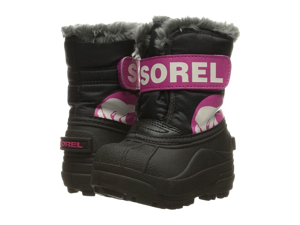 SOREL Kids Snow Commander (Toddler) (Black/Haute Pink) Girls Shoes