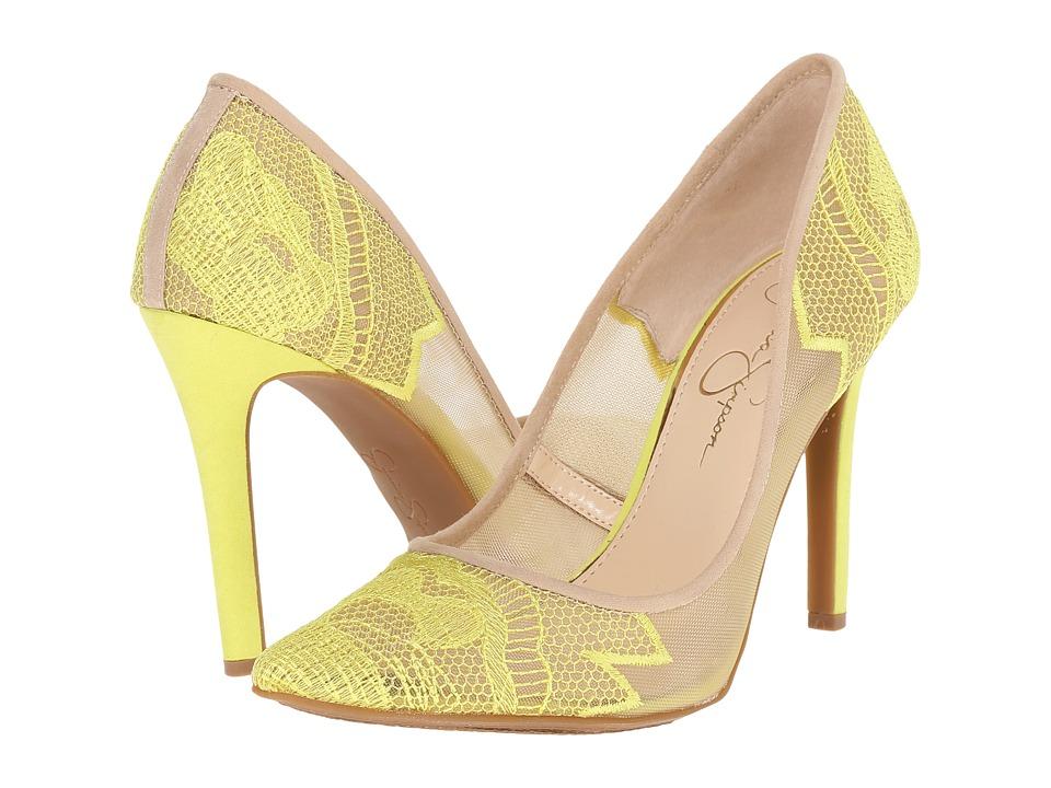 Jessica Simpson Camba Sheer Electric Yellow Cream High Heels
