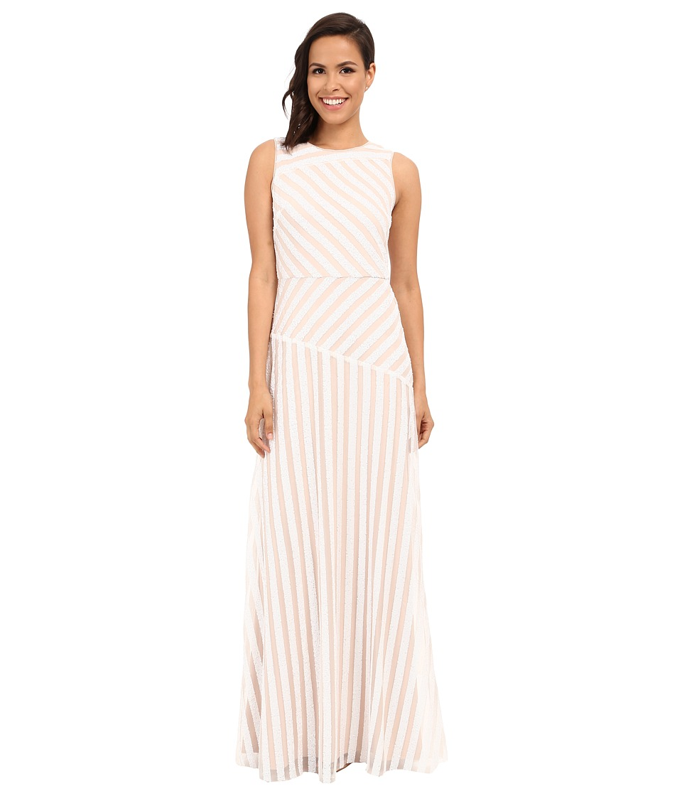Donna Morgan Gigi Boat Neck Striped Sequin Gown (Ivory/Nude) Women
