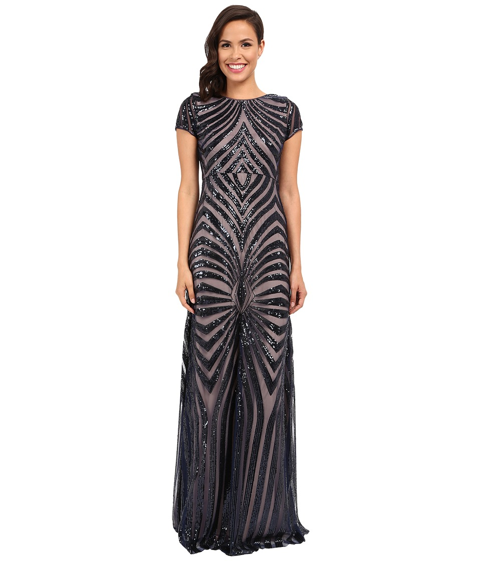 Donna Morgan Isabelle Cap Sleeve Beaded Gown (Midnight/Nude) Women