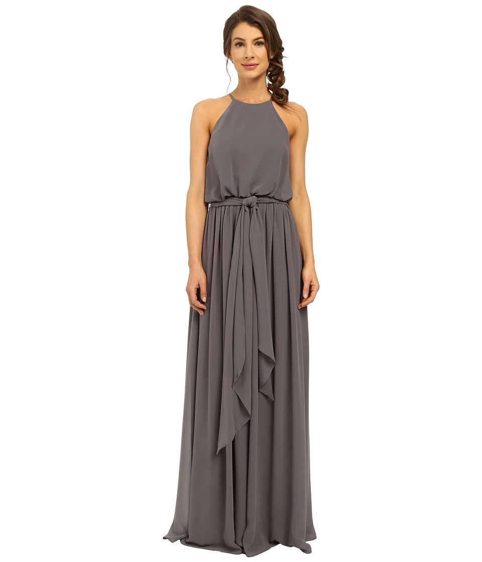 Donna Morgan Alana Drape Blouson Gown (Charcoal) Women