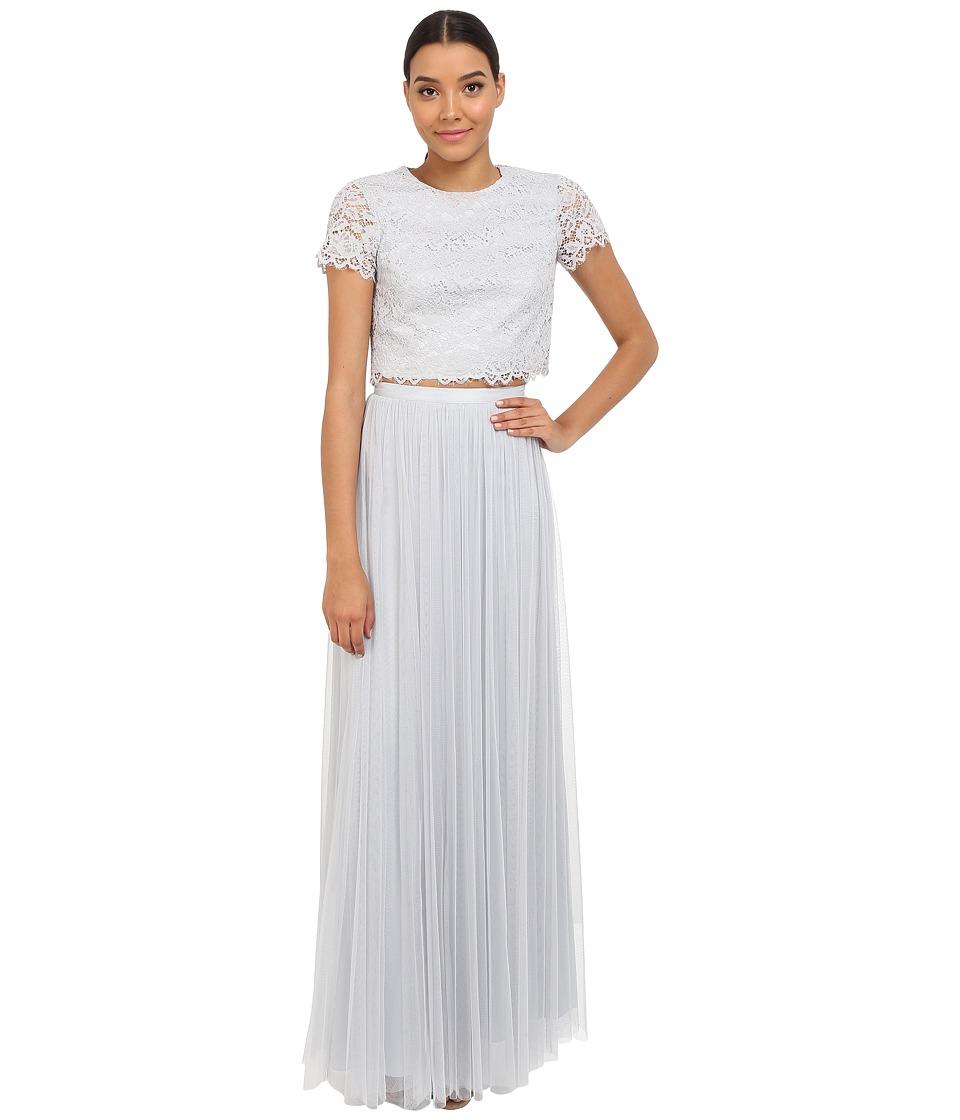 Donna Morgan Amelia Cap Sleeve Top w/ Tulle Skirt (Platinum) Women