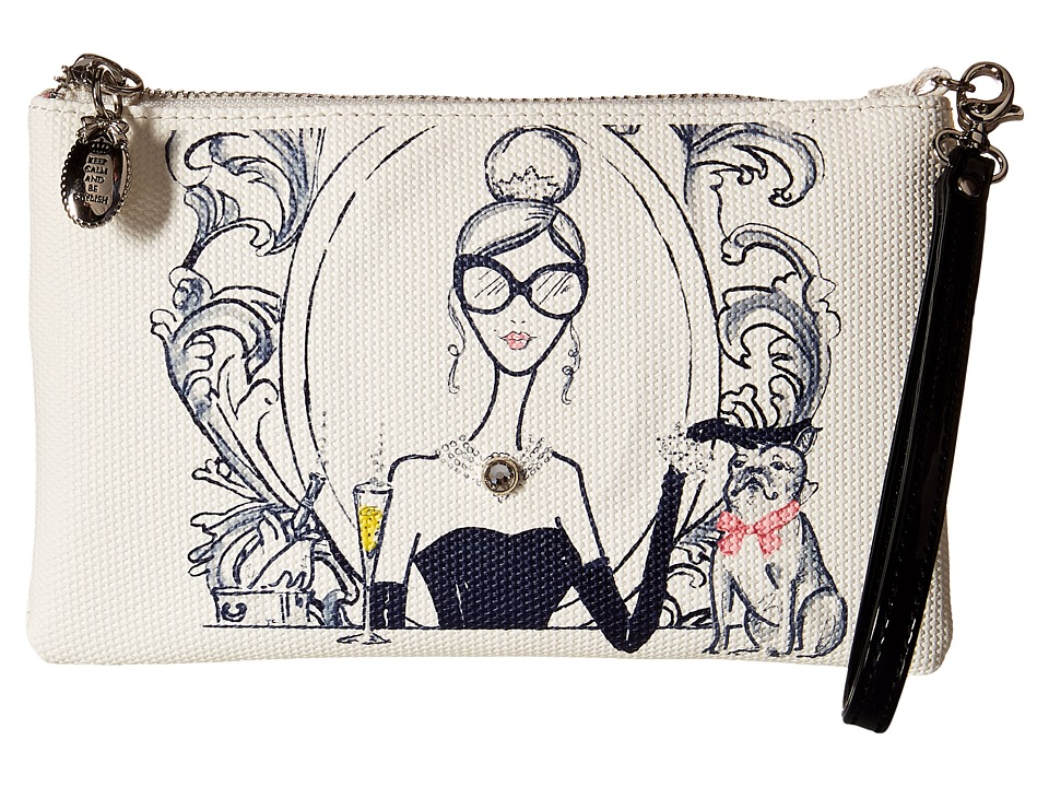 My Flat In London Drink Champagne Zip Pouch Natural/Black Wristlet Handbags