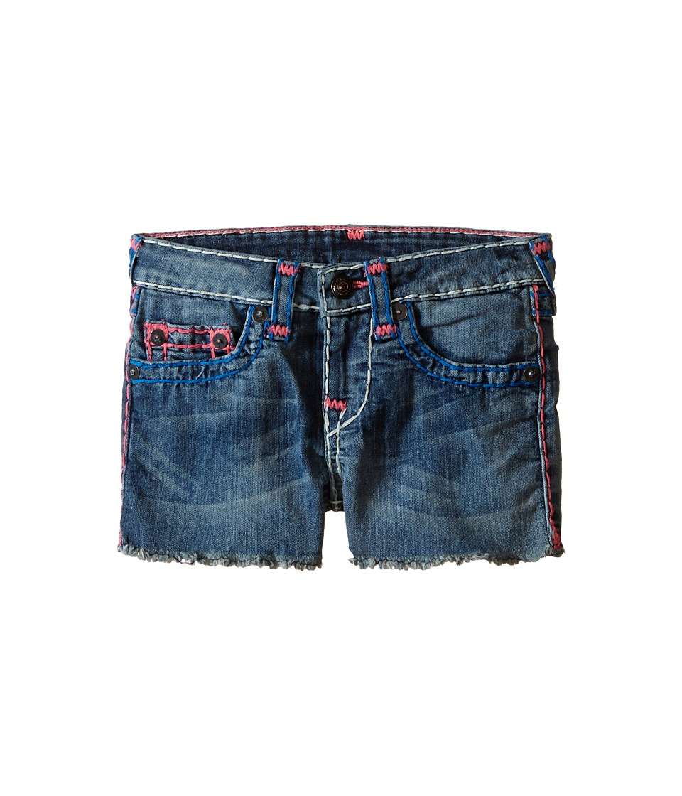 True Religion Kids Joey Super T Shorts Toddler/Little Kids Blue Radiance Girls Shorts