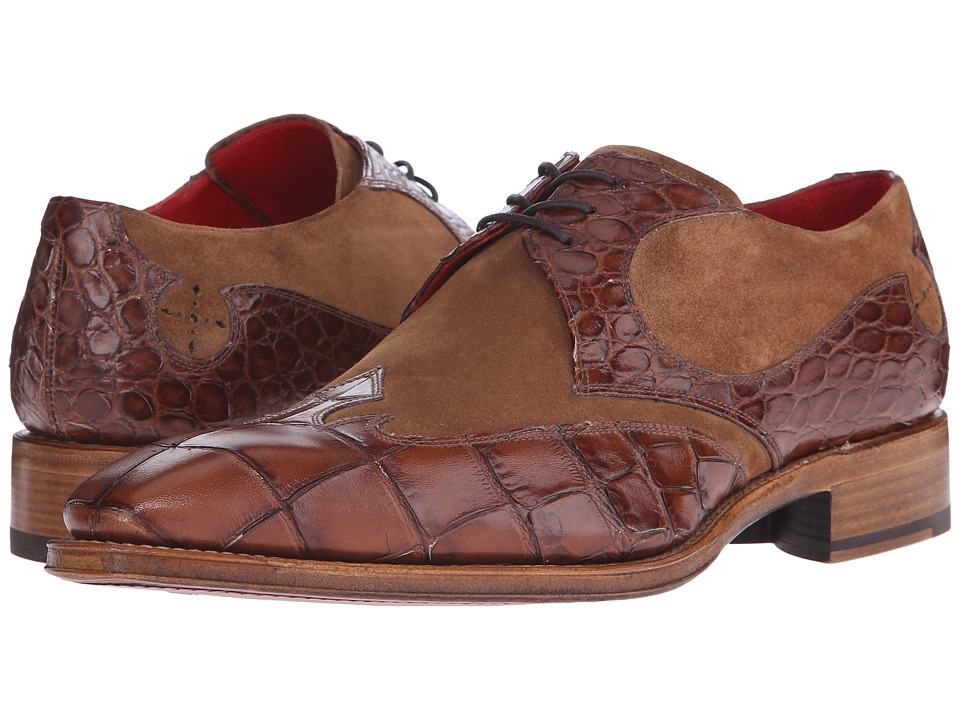 Jeffery West Arrow Gibson Missouri Tan Croco/Cognac Suede Mens Shoes