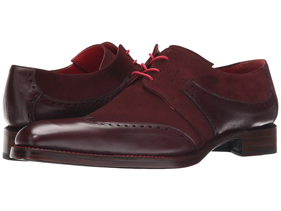 Jeffery West Slot Gibson Rioja Travy/Burgundy Suede Mens Shoes