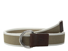 Cole Haan 38mm Stripe Webbing Belt with Leather Trim and Double D-Rings