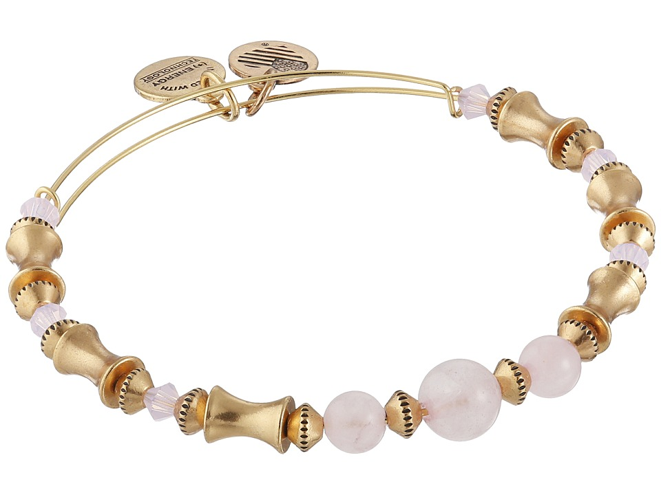Alex and Ani Rose Quartz Beaded Expandable Bracelet Gold Bracelet