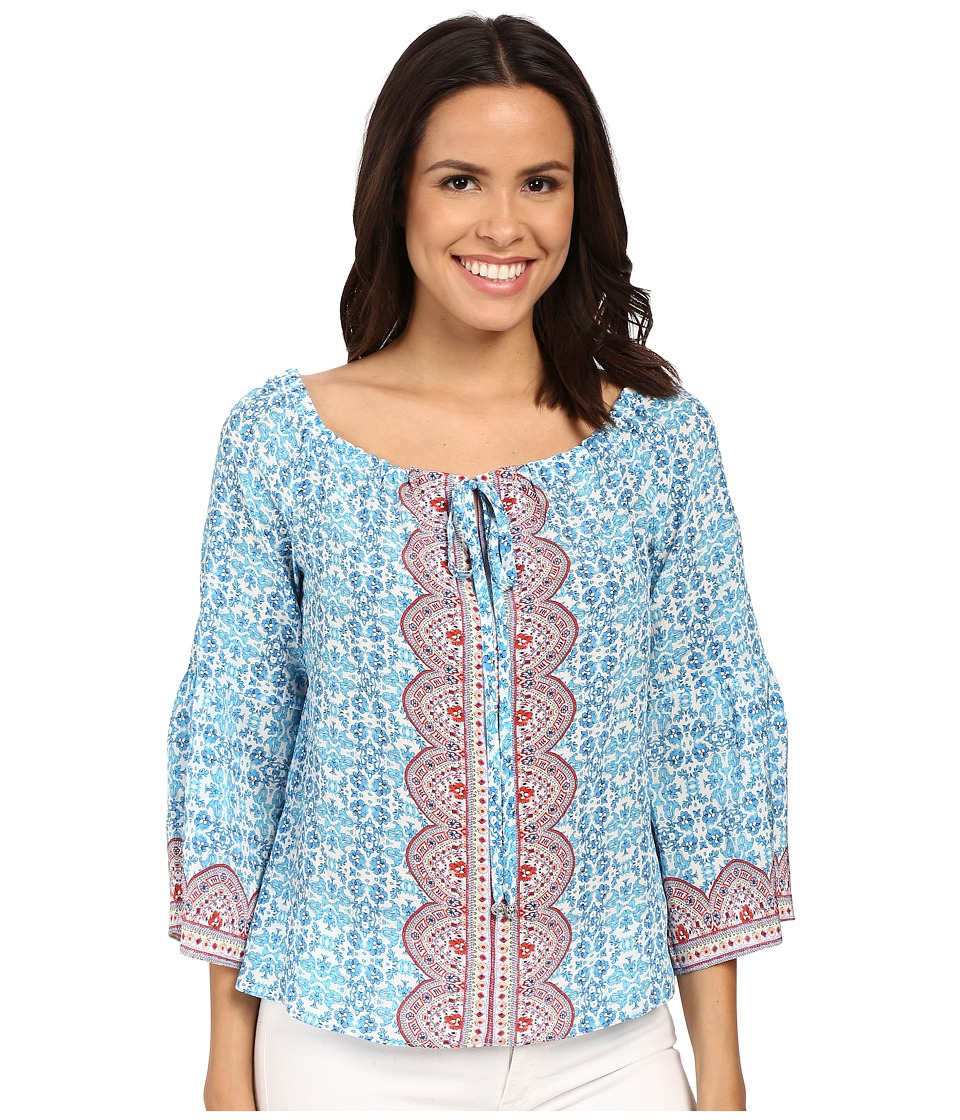 Nanette Lepore Fancy Find Top Light Blue Multi Womens Clothing